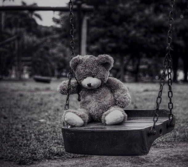bamse alene på en huske